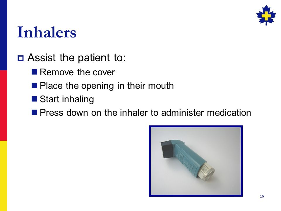 Inhalers Assist the patient to: Remove the cover