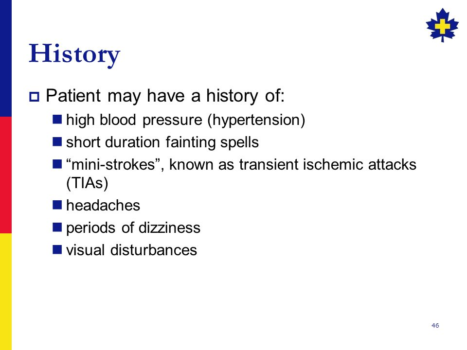 History Patient may have a history of: