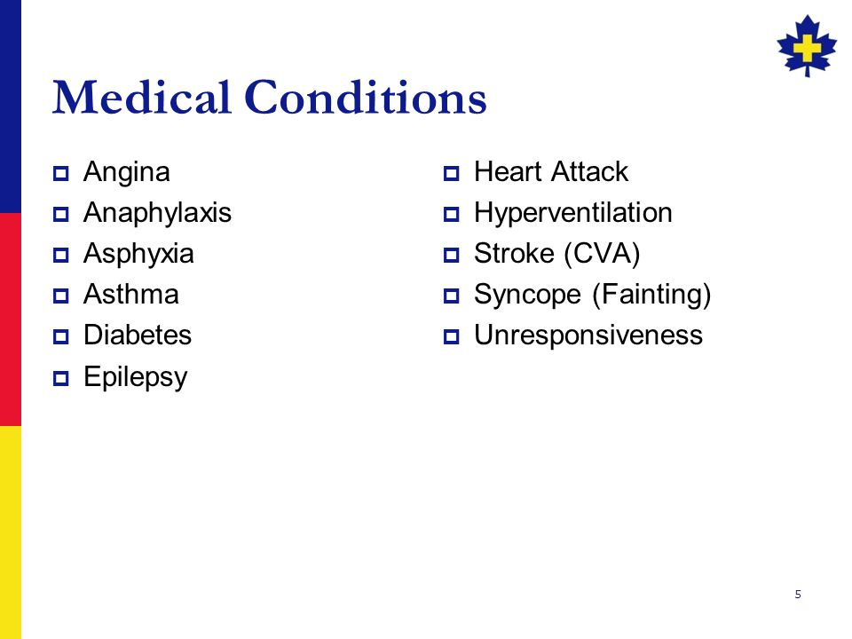 Medical Conditions Angina Anaphylaxis Asphyxia Asthma Diabetes