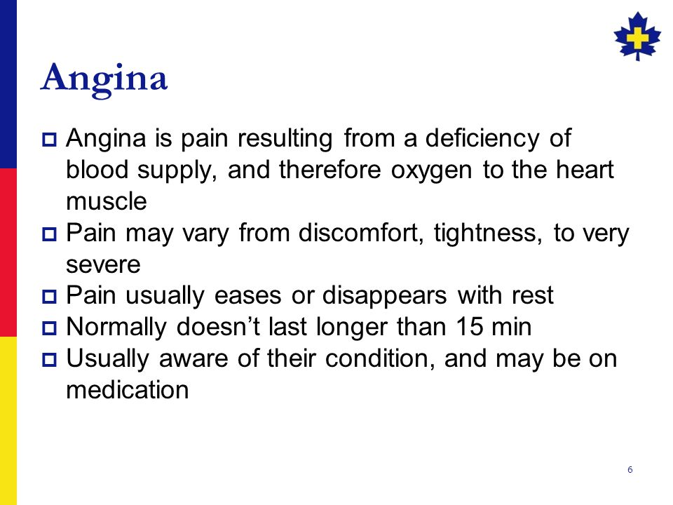 Angina Angina is pain resulting from a deficiency of blood supply, and therefore oxygen to the heart muscle.