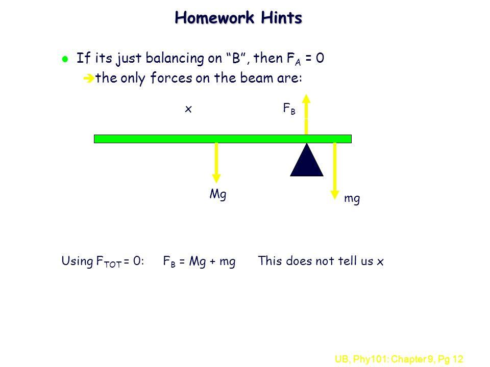 Homework Hints If its just balancing on B , then FA = 0