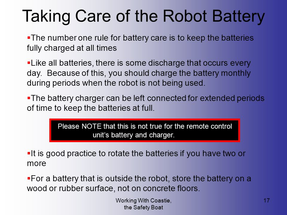 Taking Care of the Robot Battery