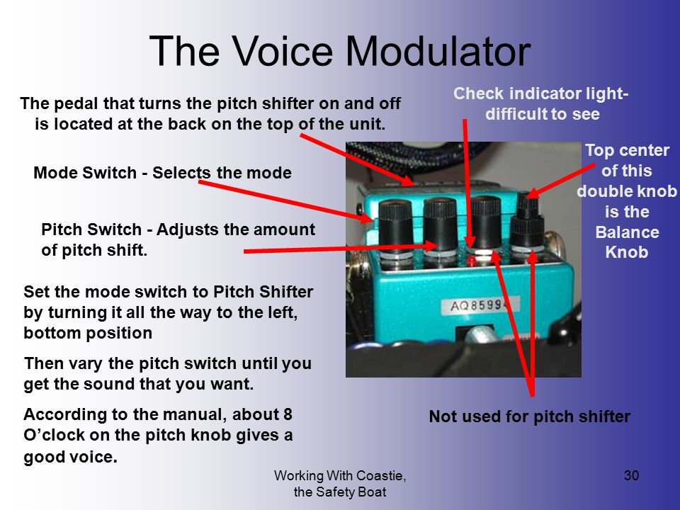 The Voice Modulator Check indicator light- difficult to see