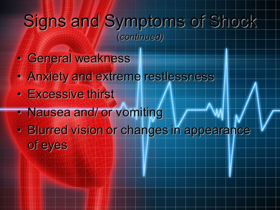 Signs and Symptoms of Shock (continued)