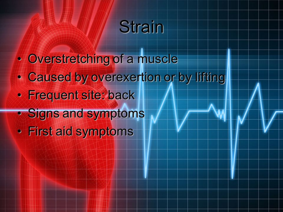 Strain Overstretching of a muscle Caused by overexertion or by lifting