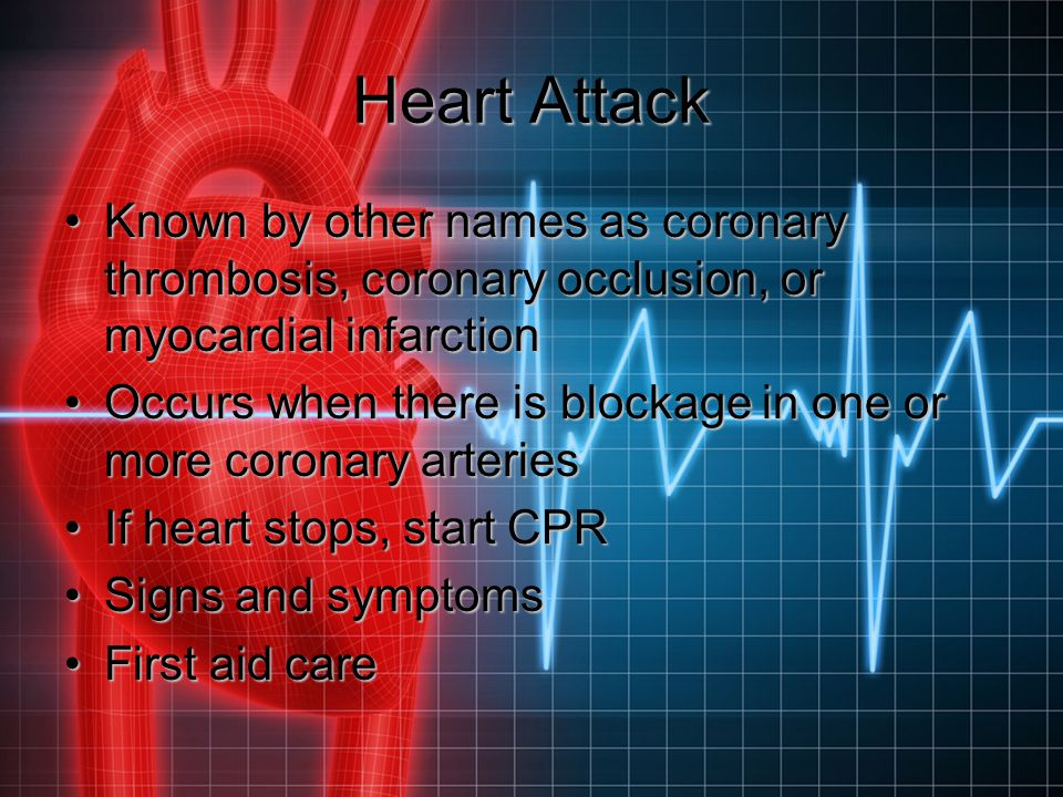 Heart Attack Known by other names as coronary thrombosis, coronary occlusion, or myocardial infarction.