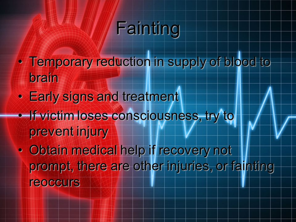 Fainting Temporary reduction in supply of blood to brain