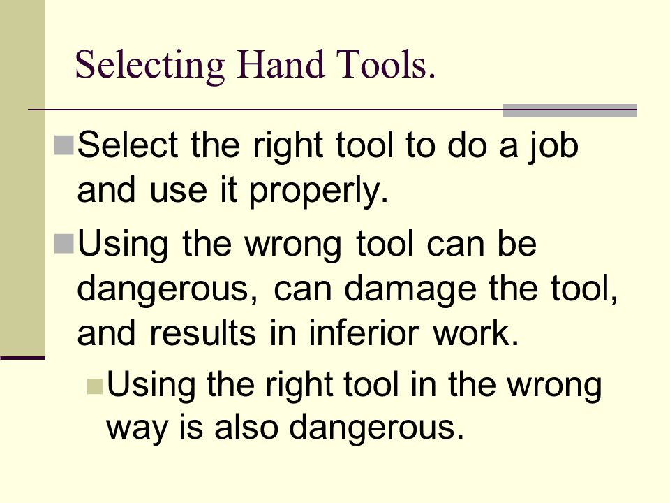 Jobs that use hand tools