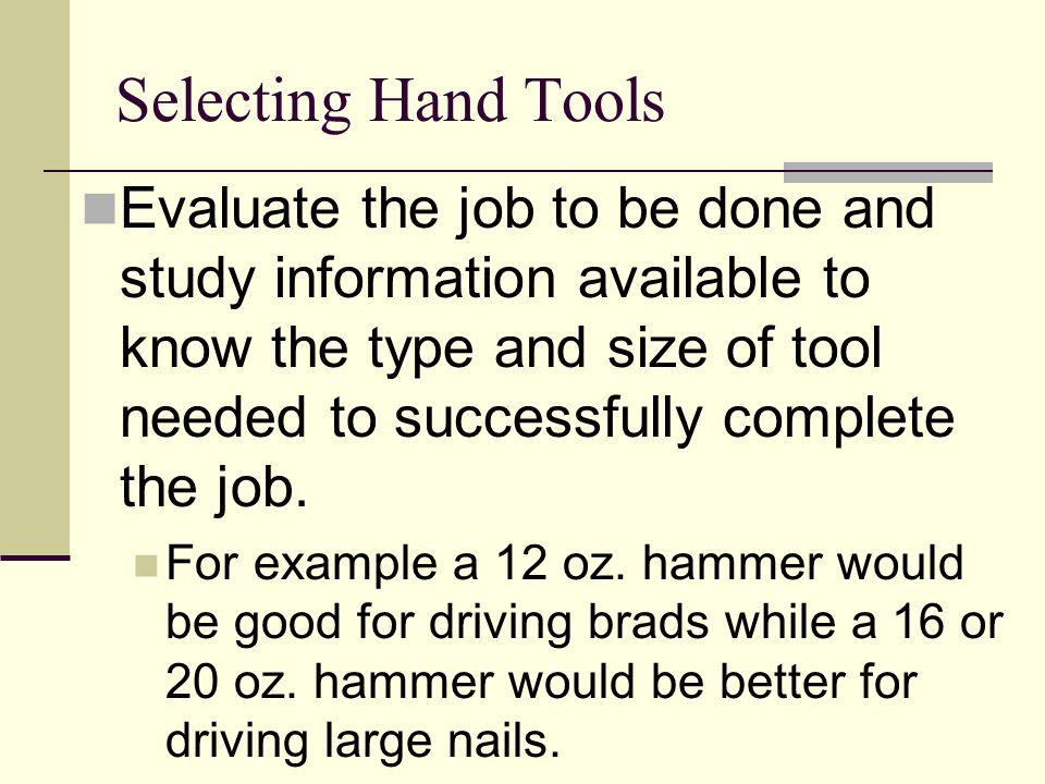 Selecting Hand Tools