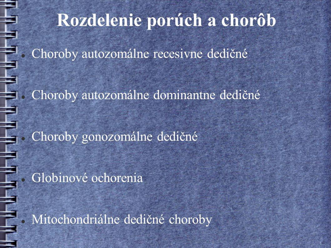 Rozdelenie porúch a chorôb