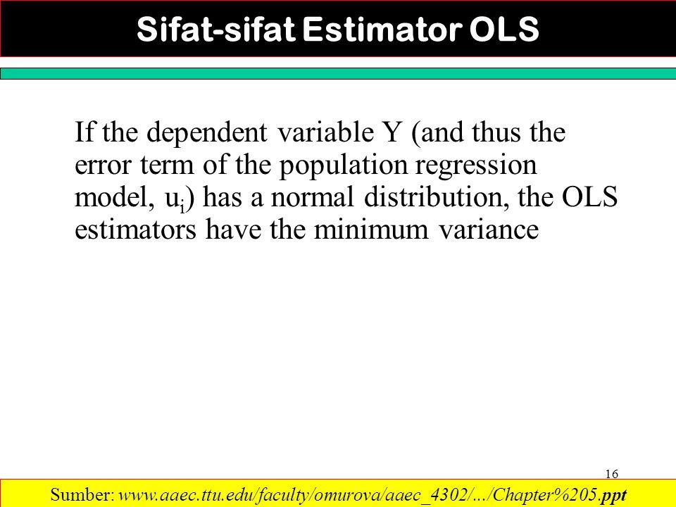 Sifat-sifat Estimator OLS