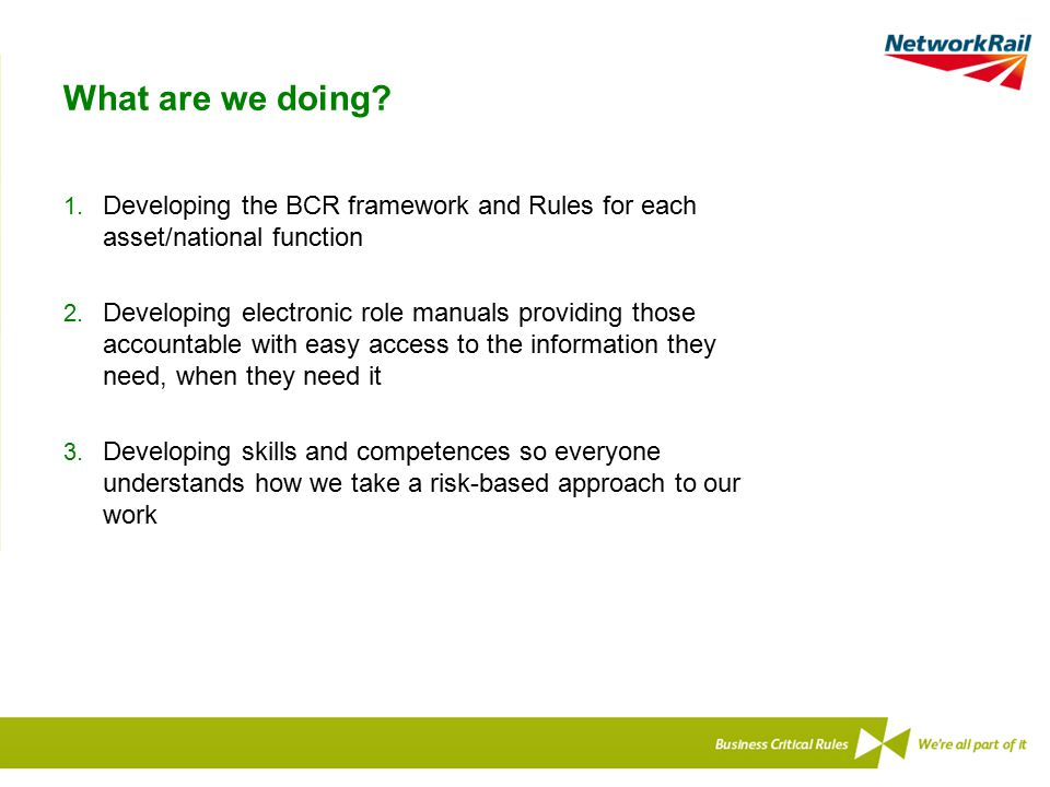 What are we doing Developing the BCR framework and Rules for each asset/national function.