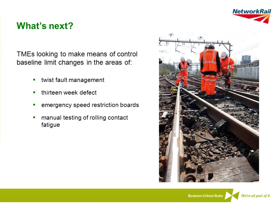 What's next TMEs looking to make means of control baseline limit changes in the areas of: twist fault management.