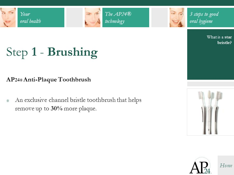 Step 1 - Brushing AP24® Anti-Plaque Toothbrush
