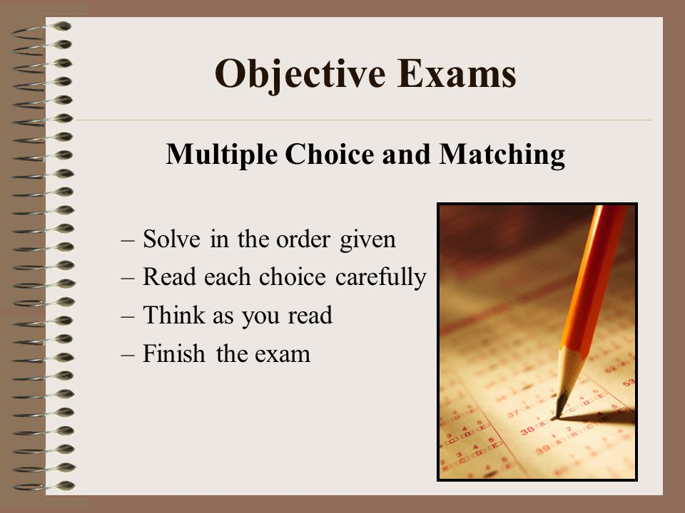 Multiple Choice and Matching