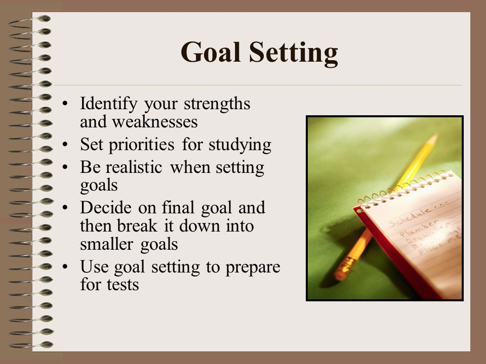 Goal Setting Identify your strengths and weaknesses