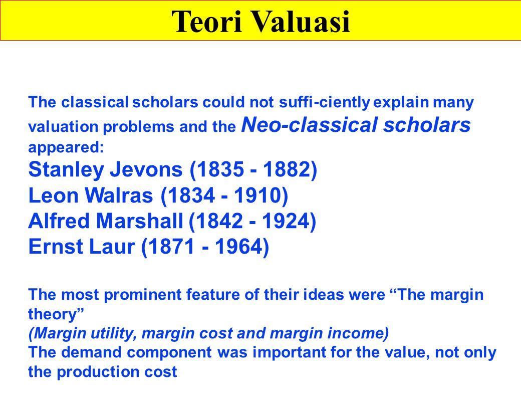 Teori Valuasi Stanley Jevons (1835 - 1882) Leon Walras (1834 - 1910)