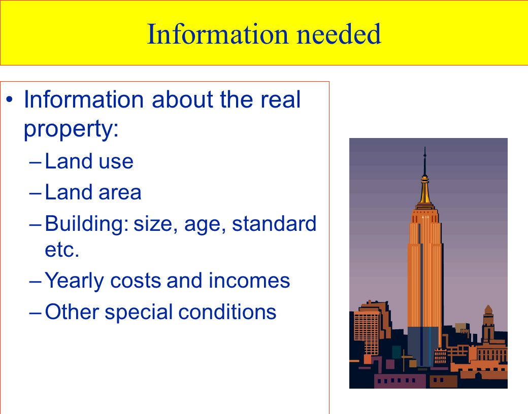 Information needed Information about the real property: Land use