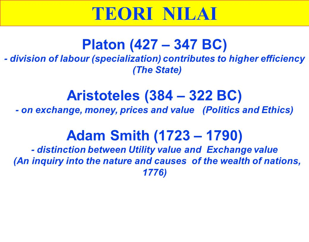 - on exchange, money, prices and value (Politics and Ethics)