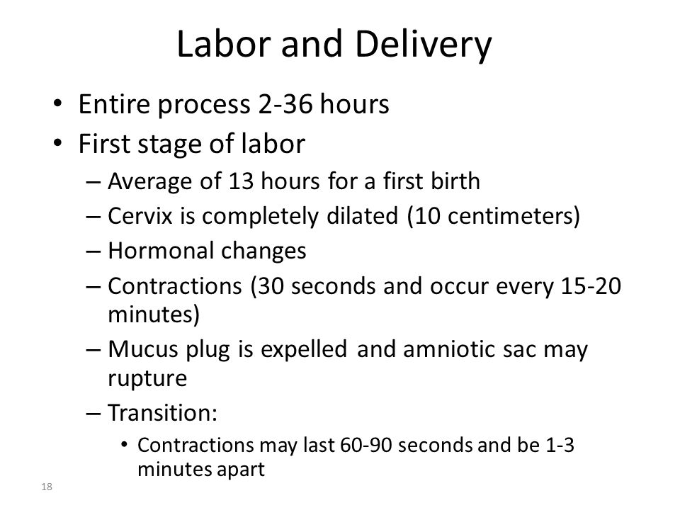 Labor and Delivery Entire process 2-36 hours First stage of labor