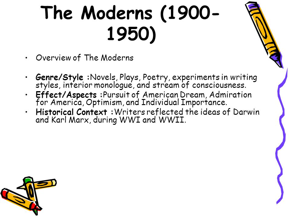 The Moderns (1900-1950) Overview of The Moderns