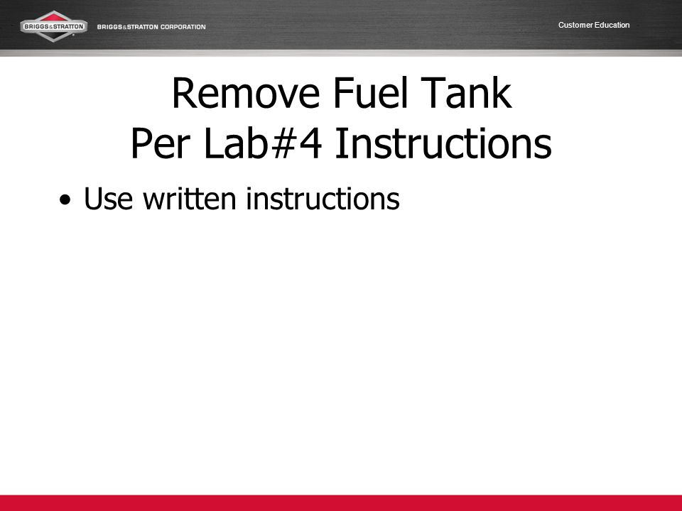Remove Fuel Tank Per Lab#4 Instructions