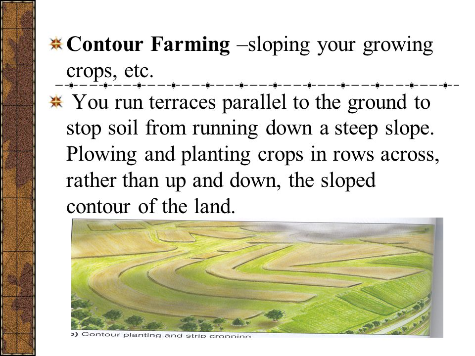 Contour Farming –sloping your growing crops, etc.