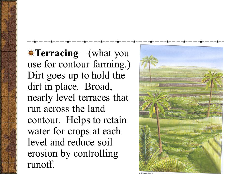 Terracing – (what you use for contour farming