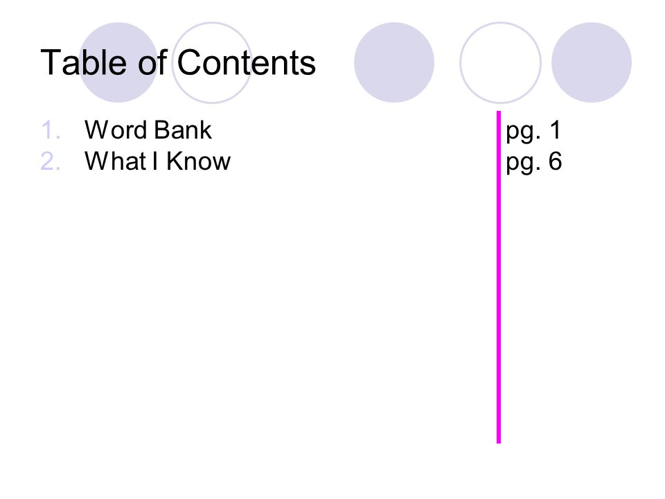 Table of Contents Word Bank pg. 1 What I Know pg. 6