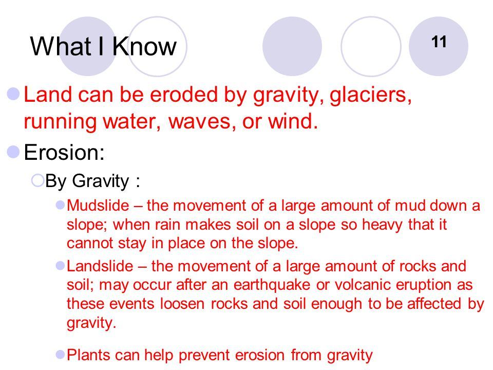 What I Know 11. Land can be eroded by gravity, glaciers, running water, waves, or wind. Erosion: By Gravity :