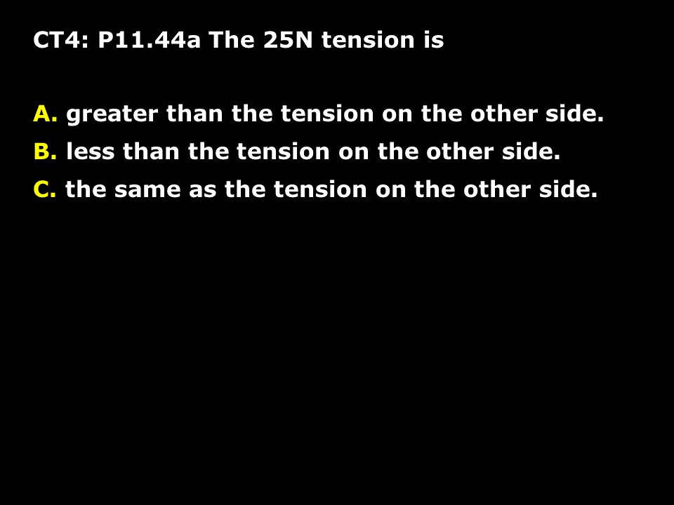 CT4: P11.44a The 25N tension is greater than the tension on the other side. less than the tension on the other side.