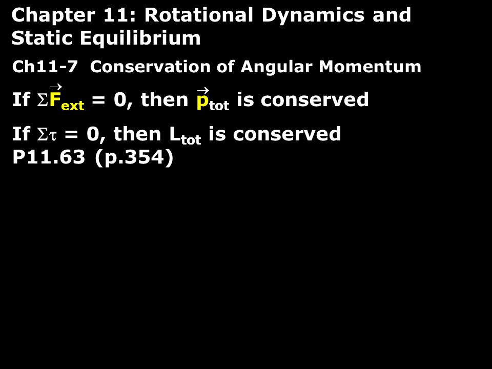 Chapter 11: Rotational Dynamics and Static Equilibrium