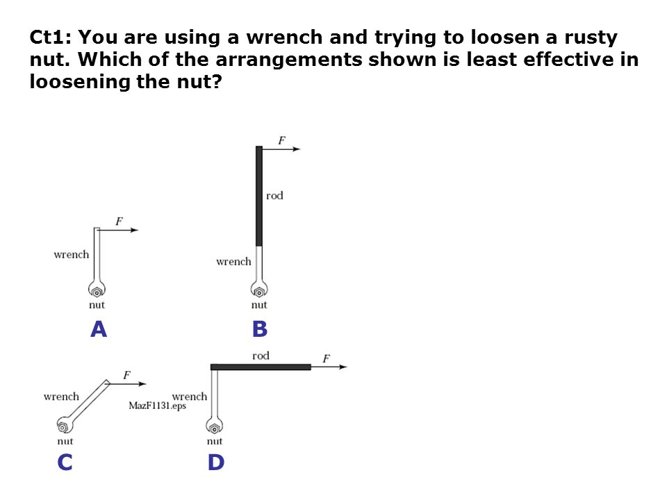 Ct1: You are using a wrench and trying to loosen a rusty nut