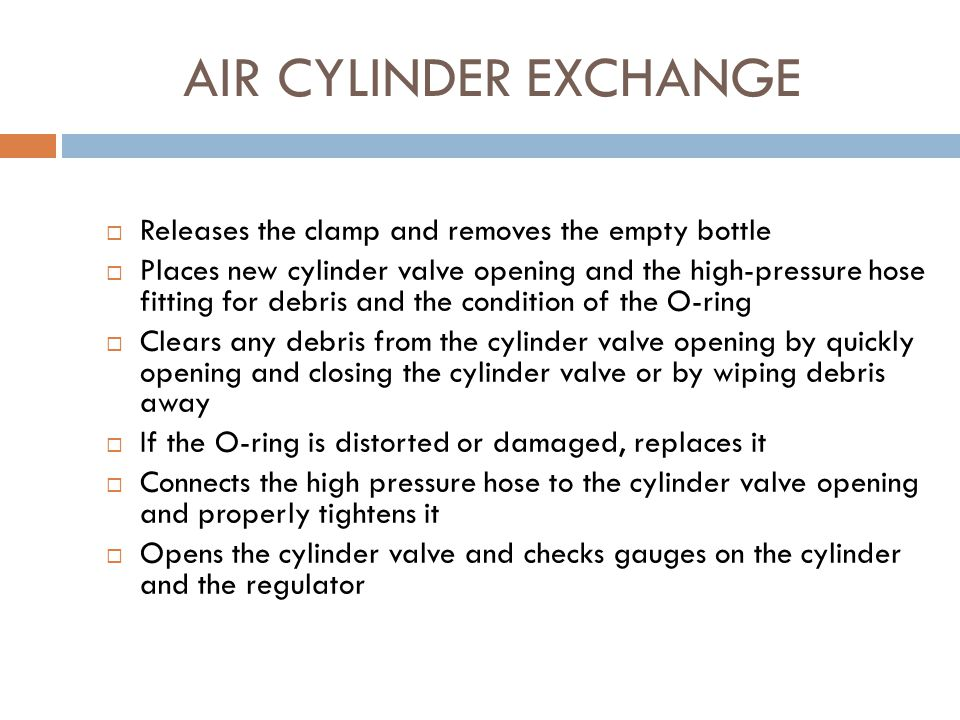 AIR CYLINDER EXCHANGE Releases the clamp and removes the empty bottle