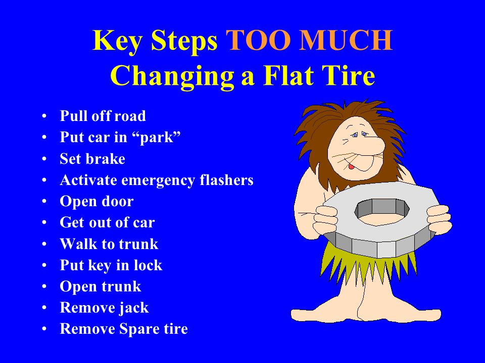 Key Steps TOO MUCH Changing a Flat Tire