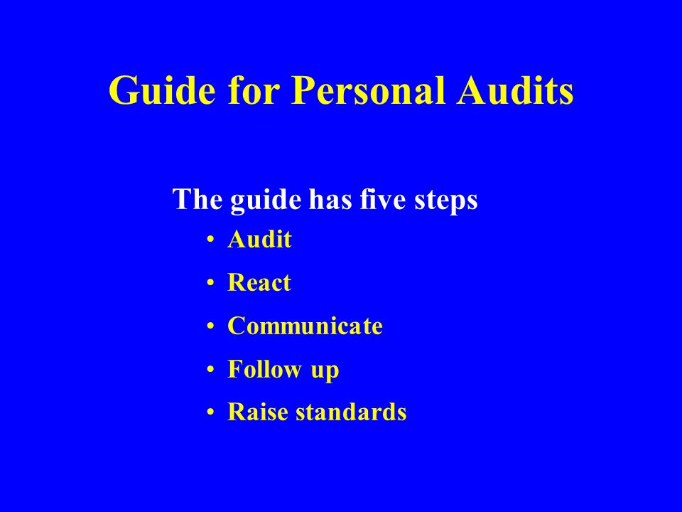 Guide for Personal Audits