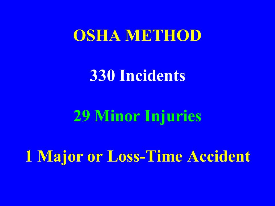 OSHA METHOD 330 Incidents 29 Minor Injuries 1 Major or Loss-Time Accident