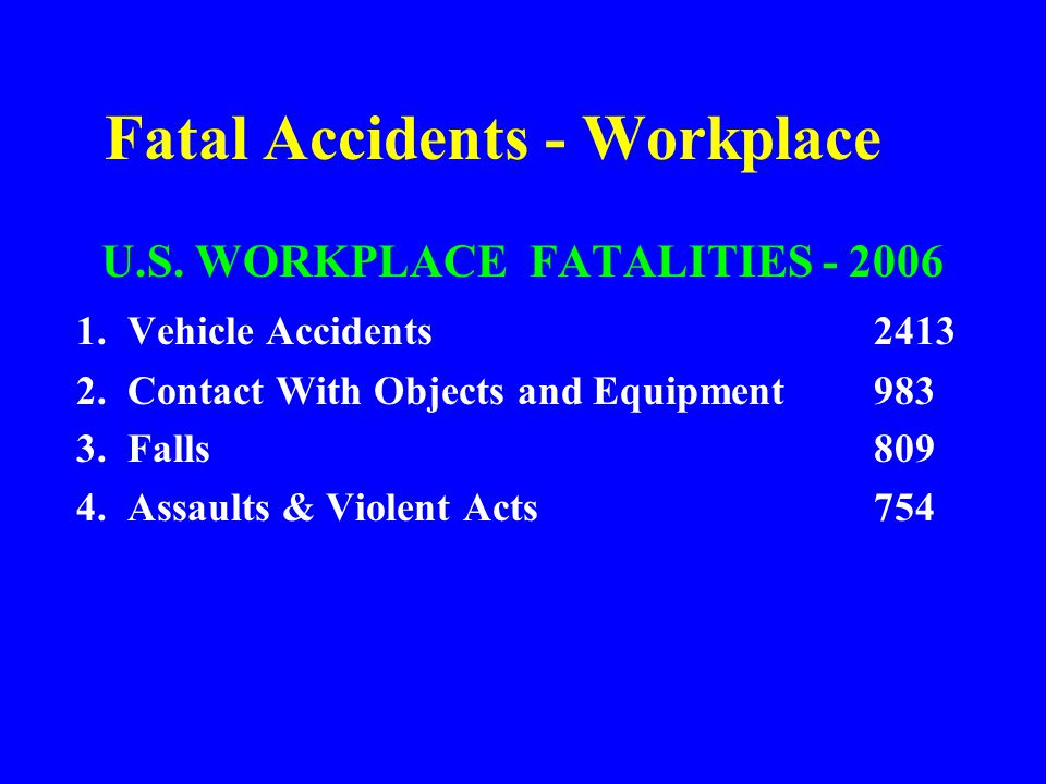 Fatal Accidents - Workplace