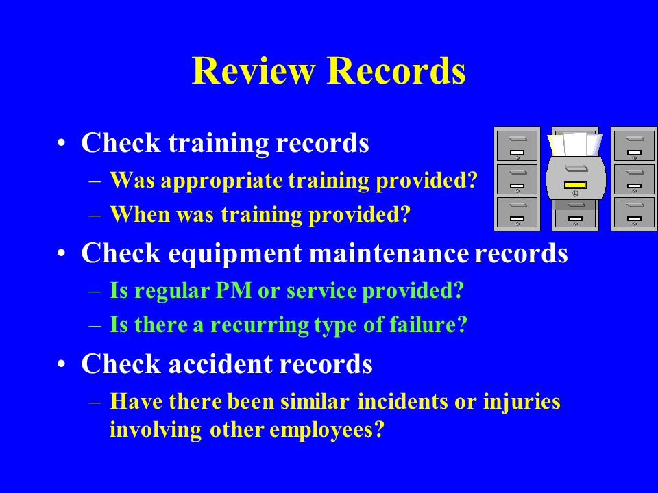 Review Records Check training records