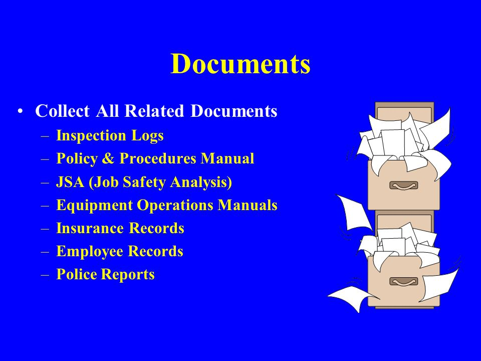 Documents Collect All Related Documents Inspection Logs