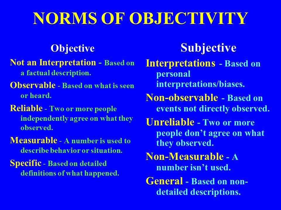 NORMS OF OBJECTIVITY Subjective Objective