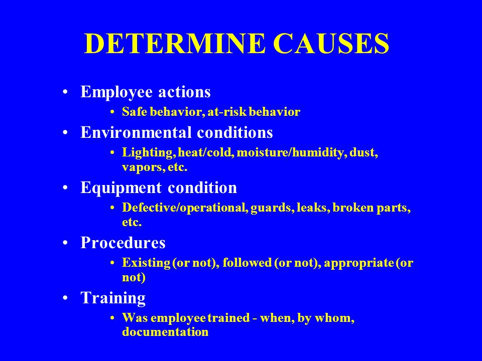 DETERMINE CAUSES Employee actions Environmental conditions