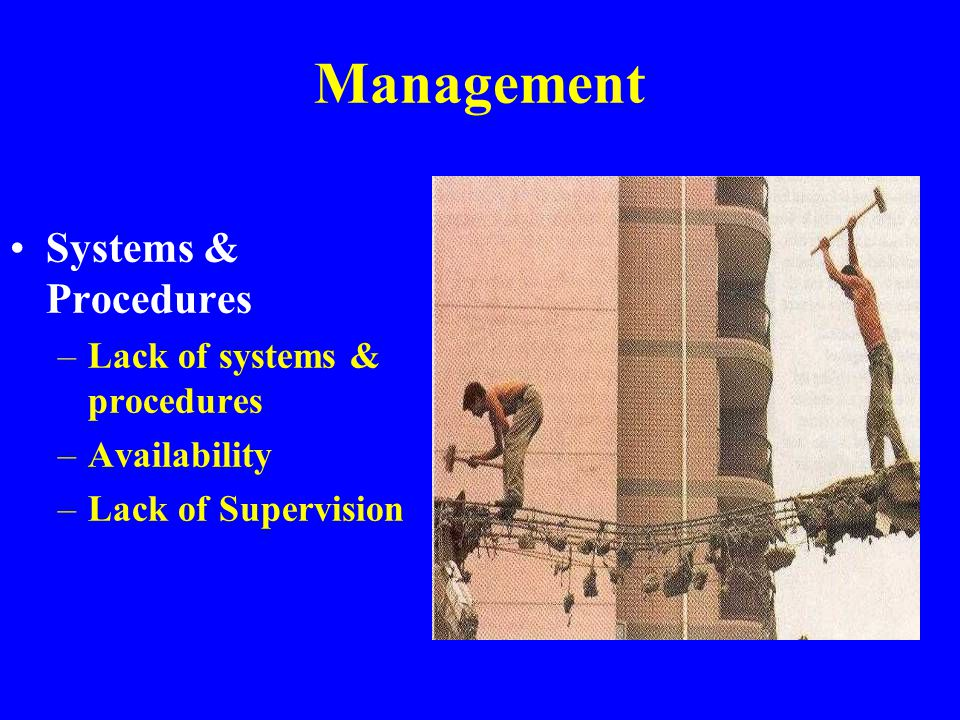 Management Systems & Procedures Lack of systems & procedures