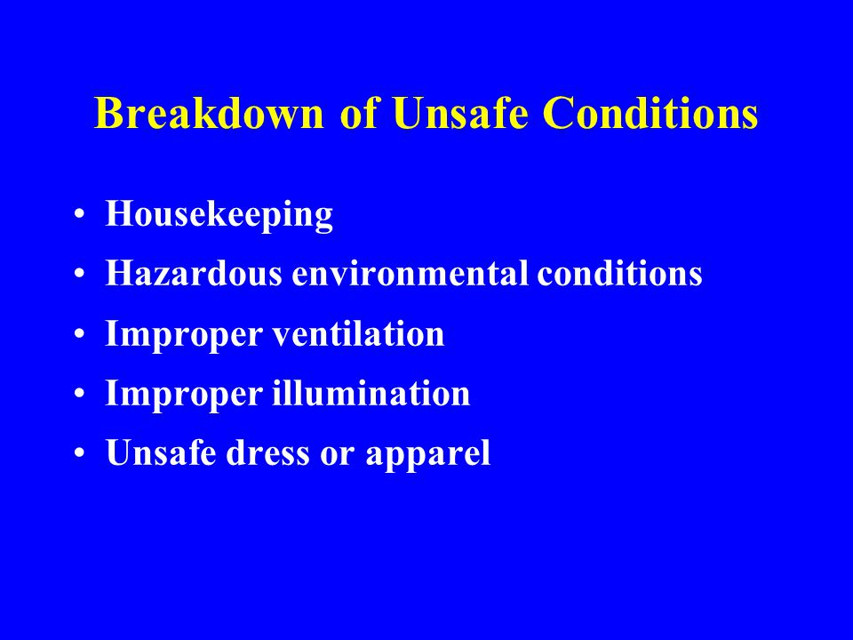 Breakdown of Unsafe Conditions