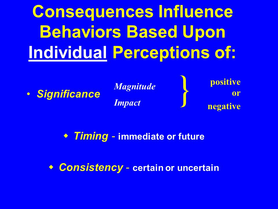 Consequences Influence Behaviors Based Upon Individual Perceptions of: