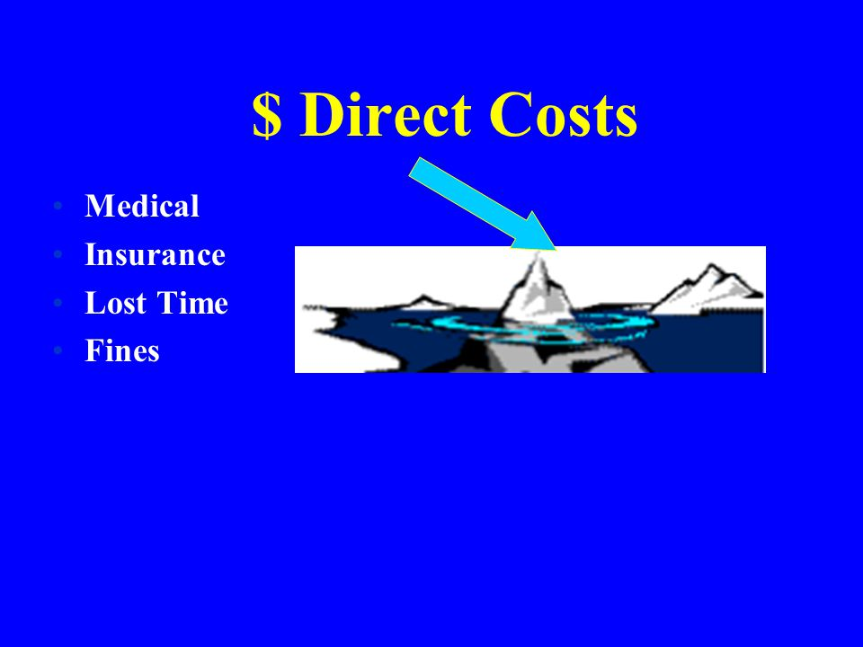 $ Direct Costs Medical Insurance Lost Time Fines