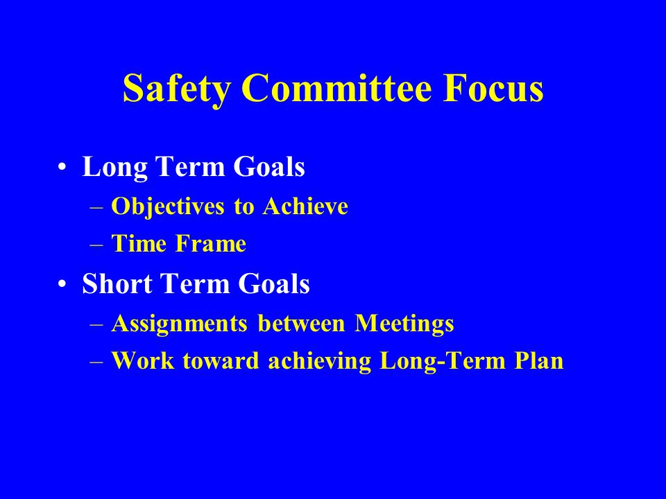 Safety Committee Focus