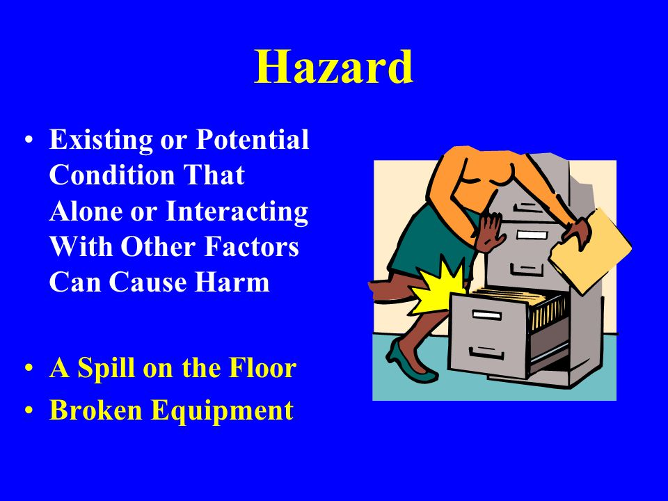 Hazard Existing or Potential Condition That Alone or Interacting With Other Factors Can Cause Harm.