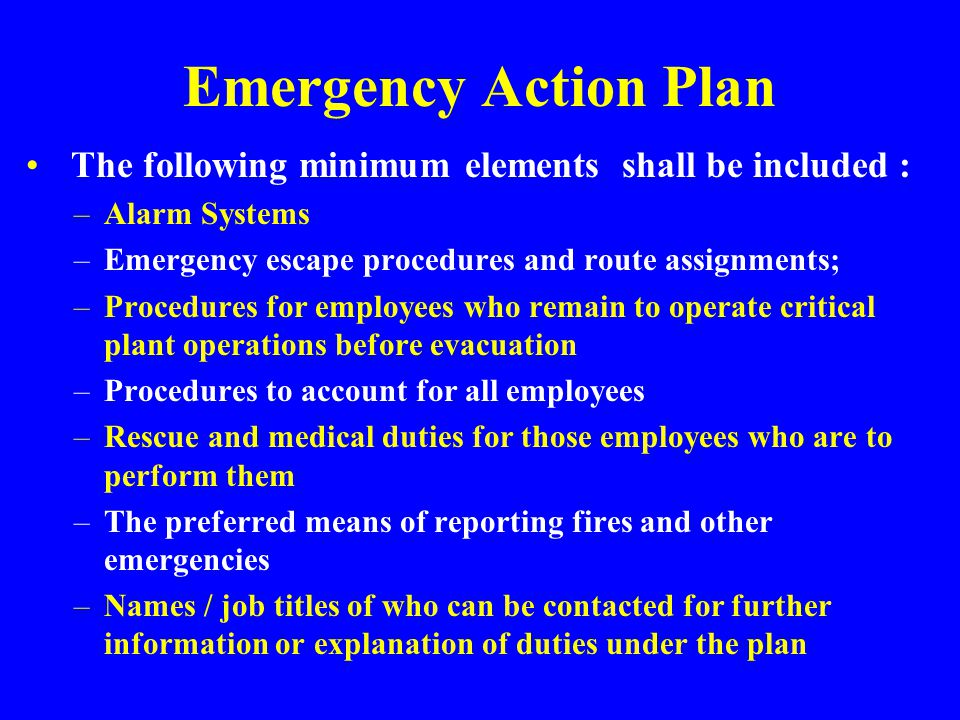 Emergency Action Plan The following minimum elements shall be included : Alarm Systems. Emergency escape procedures and route assignments;