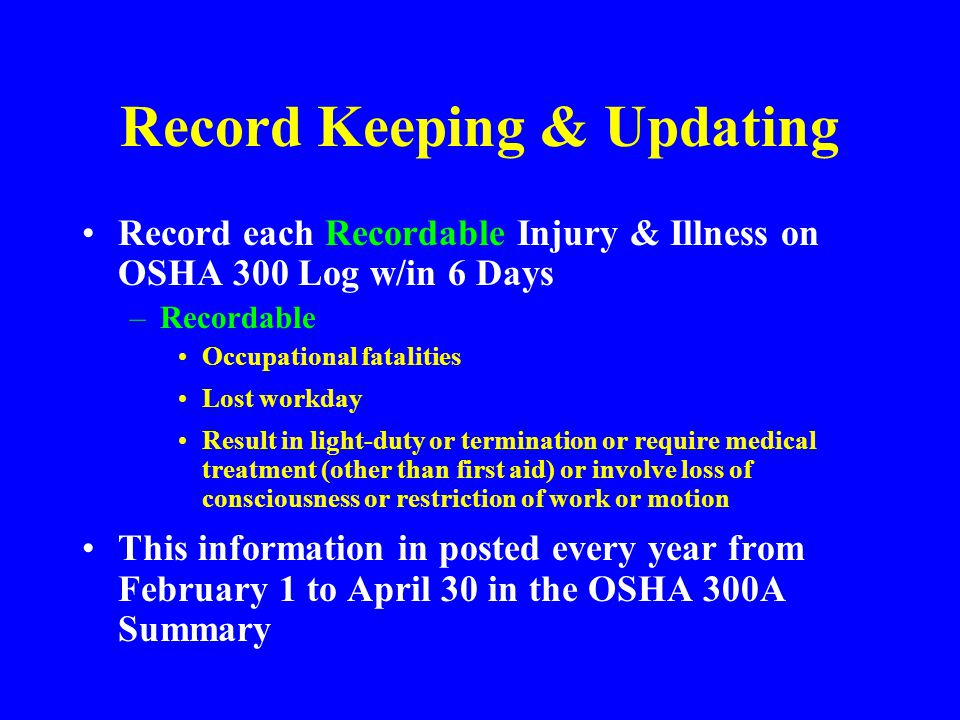 Record Keeping & Updating